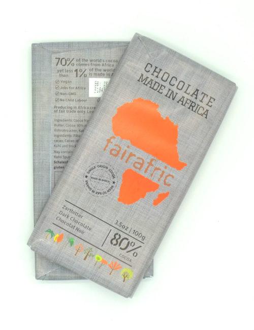 Vegane Zartbitterschokolade 80% Kakaoanteil - fairafric