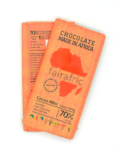 Zartbitterschokolade mit Kakaosplitter - 70% Kakaoanteil - fairafric