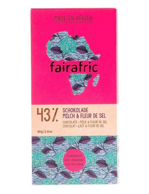 fairafric-Schokolade 43% Kakao - Milch und Fleur de Sel