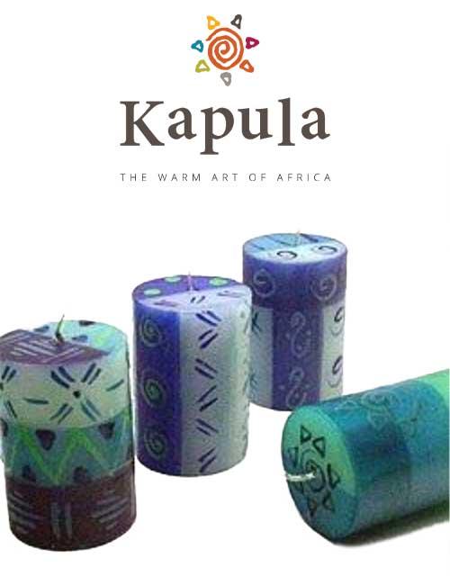 Kapula Stumpenkerze Blue & Green