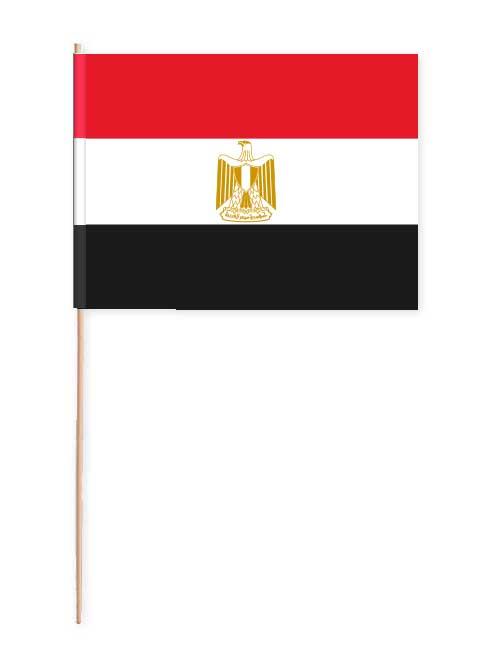 Fahne von Ägypten auf Papier mit Holzstab