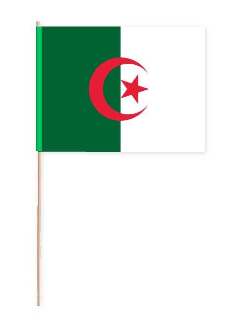 Fahne von Algerien auf Papier mit Holzstab