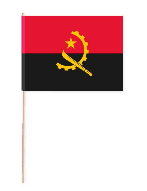 Fahne von Angola auf Papier mit Holzstab