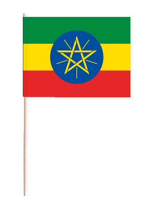 Äthiopien Papierfahne mit Holzstab