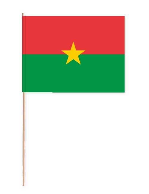 Burkina Faso Papierfahne mit Holzstab