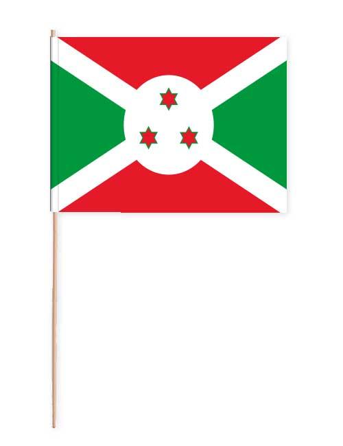 Burundi Papierfahne mit Holzstab