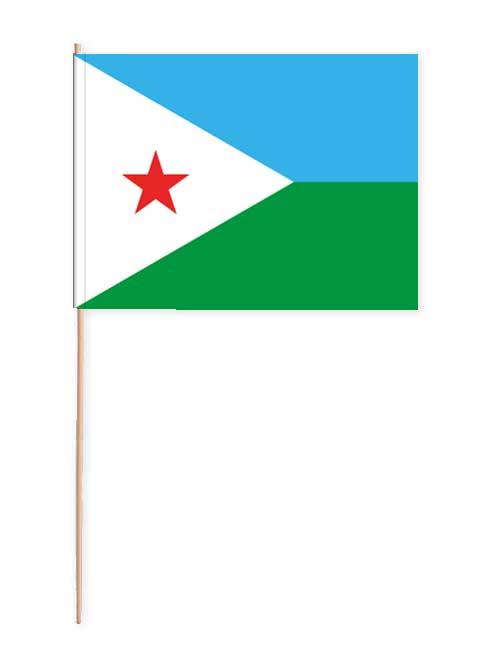 Dschibuti Papierfahne mit Holzstab