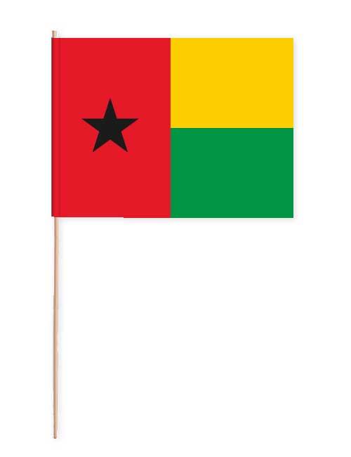 Guinea-Bissau Papierfahne mit Holzstab