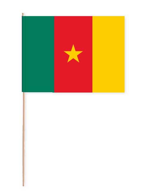 Kamerun Papierfahne mit Holzstab