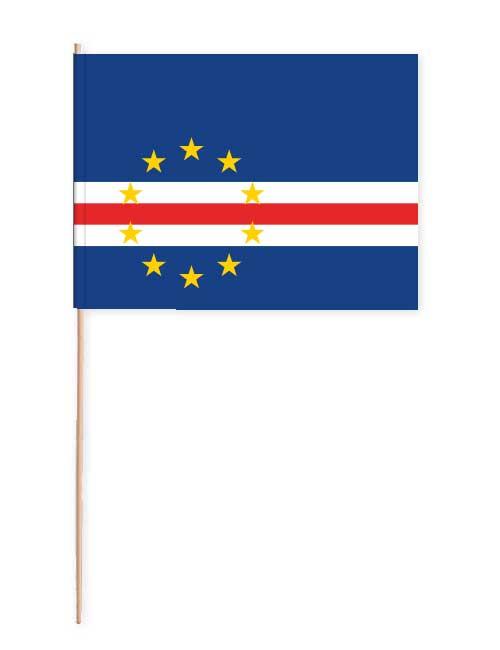Kap Verde Papierfahne mit Holzstab