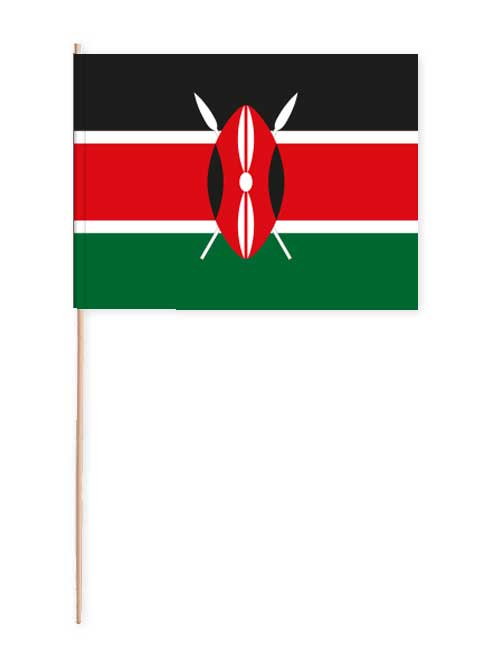Kenia Papierfahne mit Holzstab