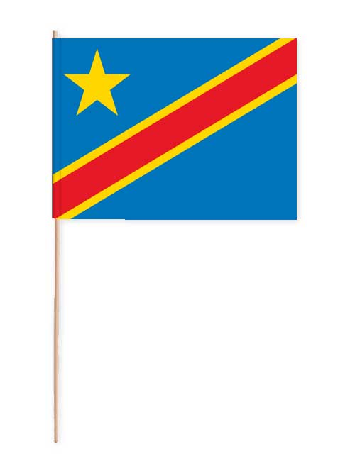 Kongo Papierfahne mit Holzstab