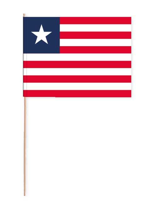 Liberia Papierfahne mit Holzstab