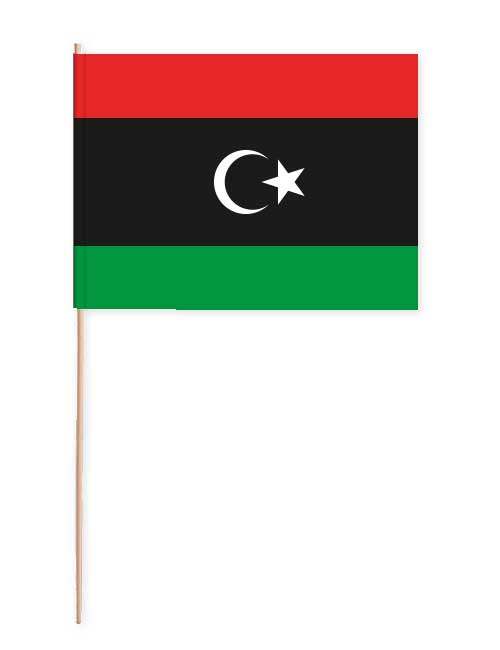 Libyen Papierfahne mit Holzstab