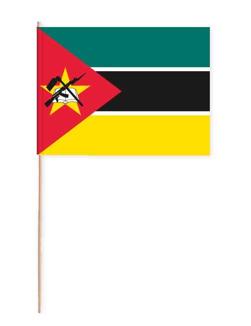 Mosambik Papierfahne mit Holzstab