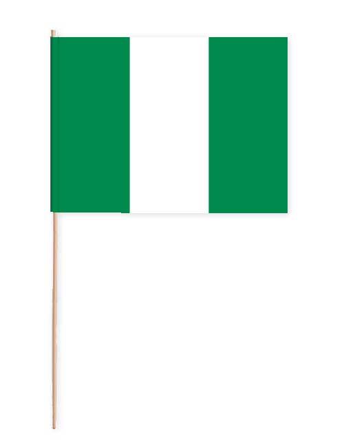Nigeria Papierfahne mit Holzstab