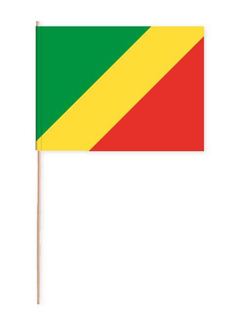 Republik Kongo Papierfahne mit Holzstab