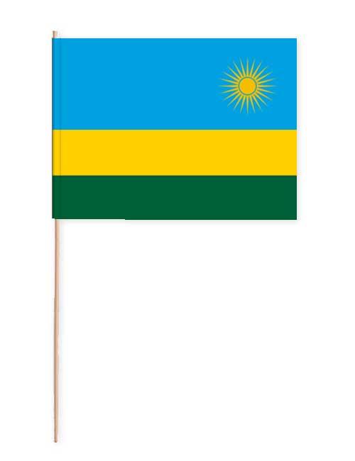 Ruanda Papierfahne mit Holzstab