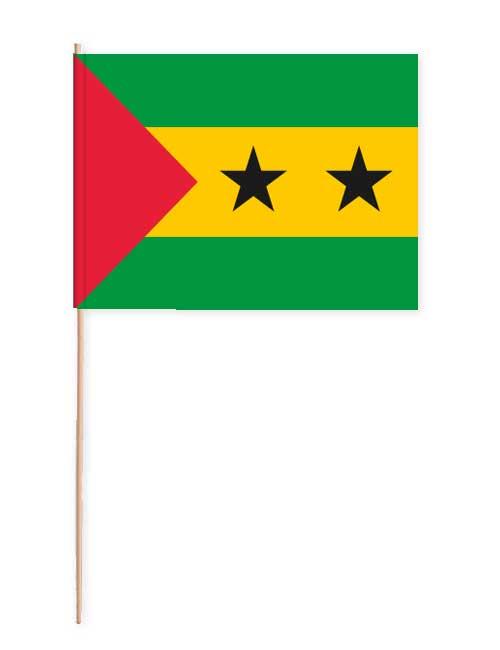 Sao Tome und Principe Papierfahne mit Holzstab