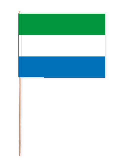 Sierra Leone Papierfahne mit Holzstab