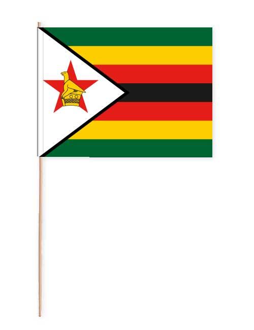 Simbabwe Papierfahne mit Holzstab