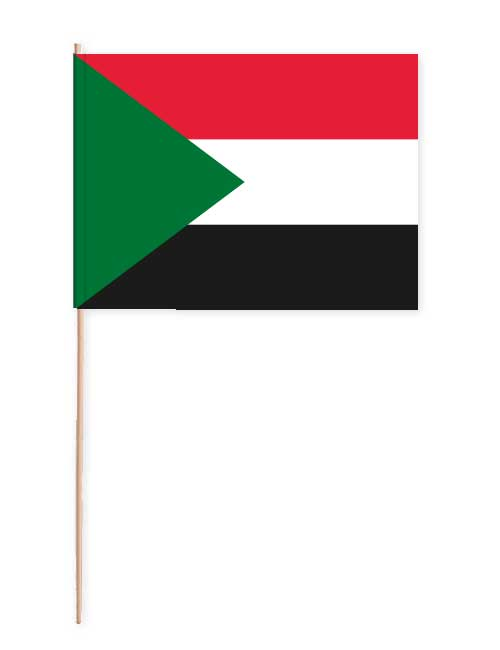Sudan Papierfahne mit Holzstab