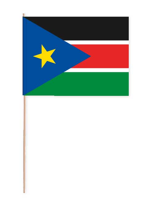 Südsudan Papierfahne mit Holzstab