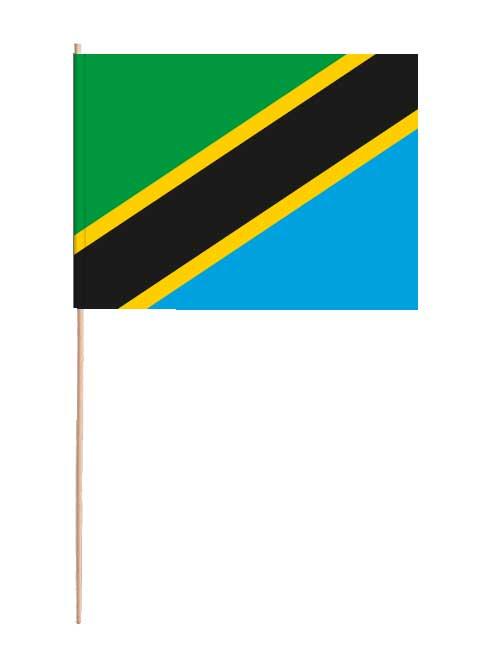 Tansania Papierfahne mit Holzstab