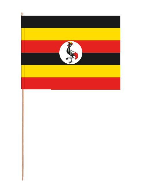 Uganda Papierfahne mit Holzstab