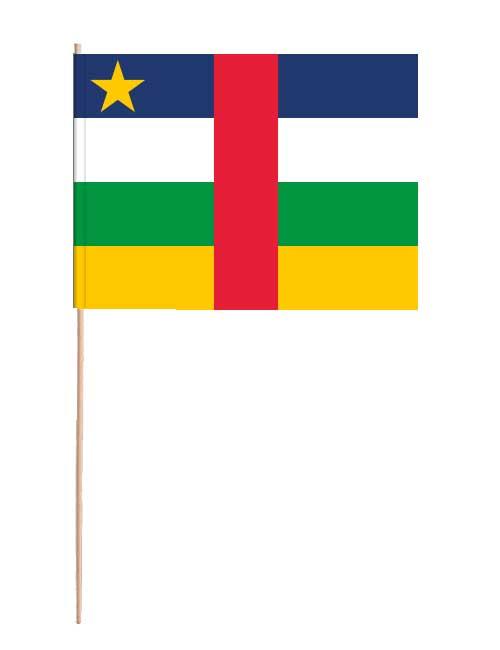 Zentralafrikanische Republik Papierfahne mit Holzstab
