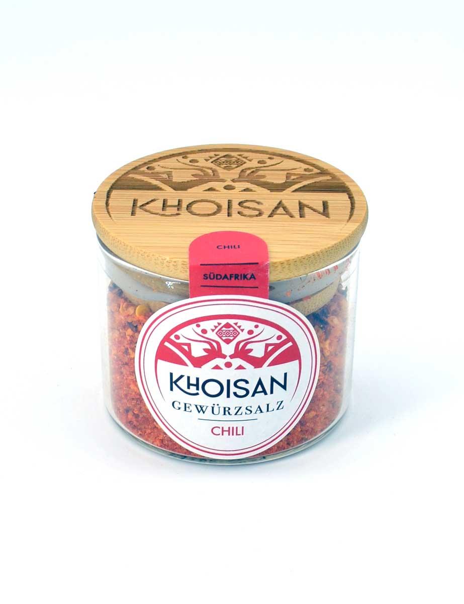 "Khoisan Gewürzsalz ""Chili"" im Glas mit Bambusdeckel"
