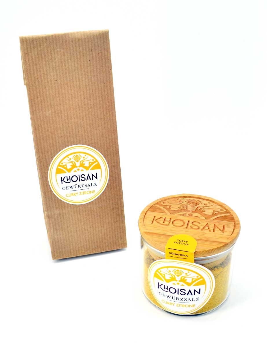 """Khoisan Gewürzsalz """"Curry-Zitrone"""" im Glas mit Bambusdeckel und im Nachfüller"""