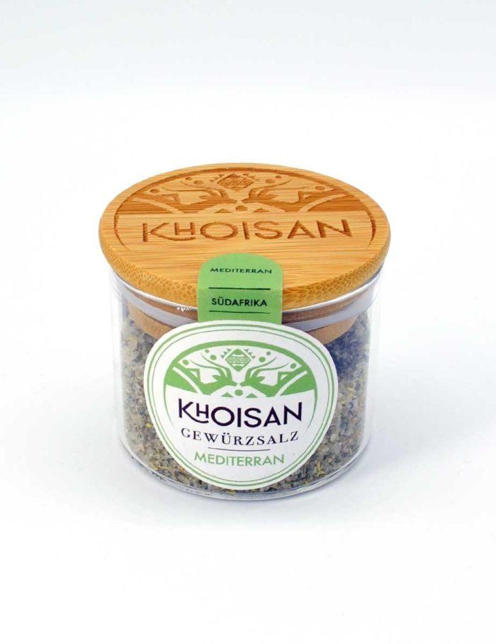 """Khoisan Gewürzsalz """"Mediterran"""" im Glas mit Bambusdeckel"""