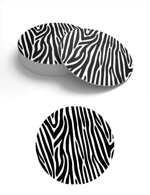 Zebra-Bierdeckel im typischen Zebra-Look