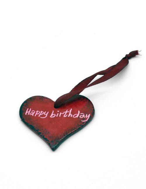 Herz-Anhänger aus Speckstein - Happy Birthday