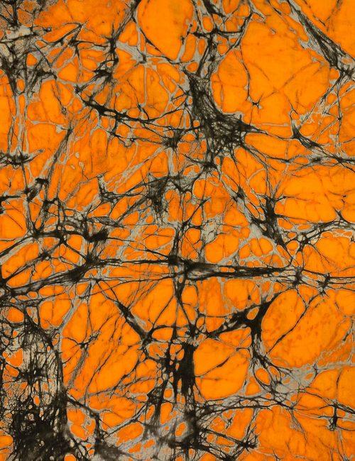 Batikstoff aus Afrika in Orangener Grunge-Optik