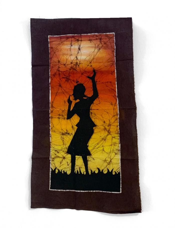 Batik Wandbehang - Frau vor Abenddämmerung