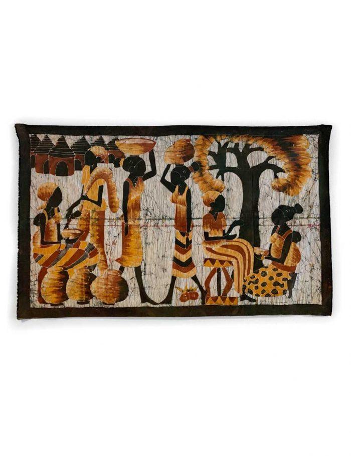 Batik-Wandbehang - Frauen im Dorf