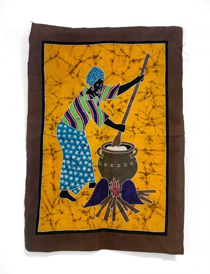 Batik Wandbehang - Kochende Frau