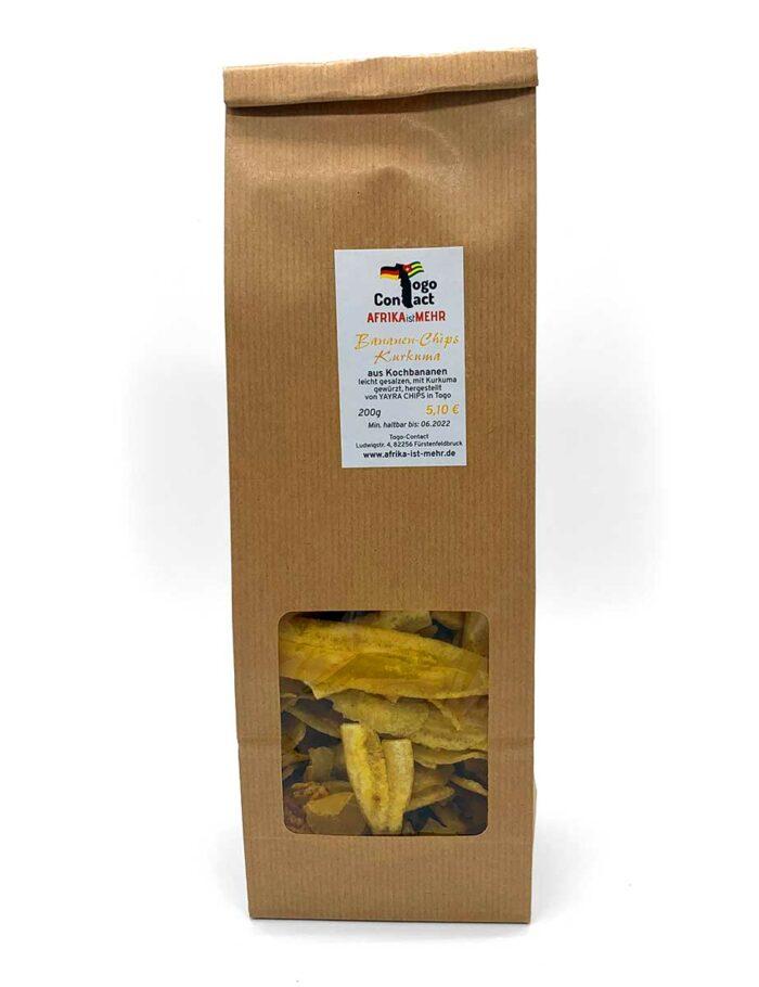 Bananen-Chips mit Kurkuma gewürzt